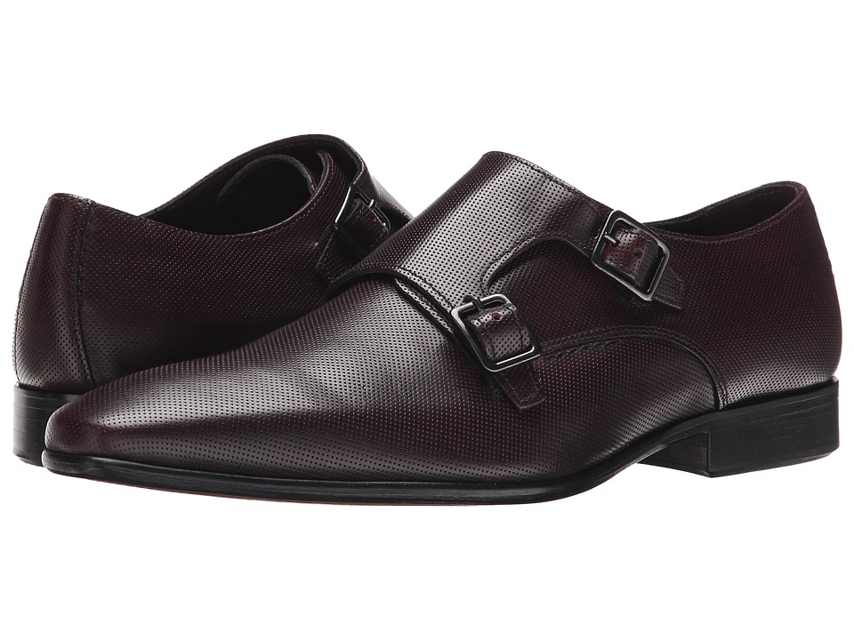 Testoni BASIC - D45937 Buckle Cuoio Cordoba Punch (Burgundy/Dark Metal Cuoio Nubuck) Men's Shoes