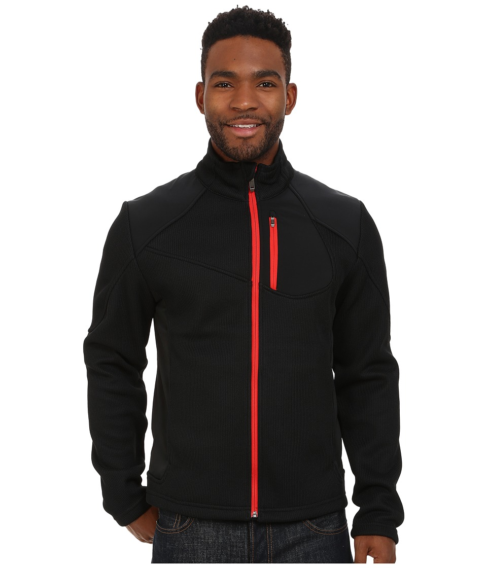 Spyder - Linear Full Zip Mid Weight Core Sweater (Black/Volcano) Men