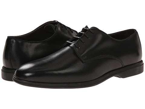 Testoni BASIC - D45940 Derby Gomma Cordoba Punch (Nero Gomma) Men's Shoes