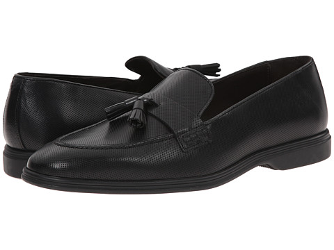 Testoni BASIC - D45939 Gomma Cordoba Calf Slip-On (Nero Gomma) Men's Slip-on Dress Shoes
