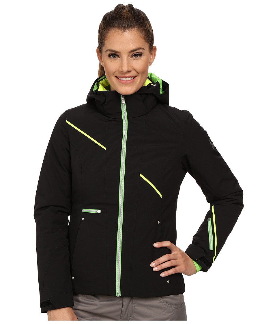 Spyder - Prevail Jacket (Black/Green Flash/Bryte Yellow) Women