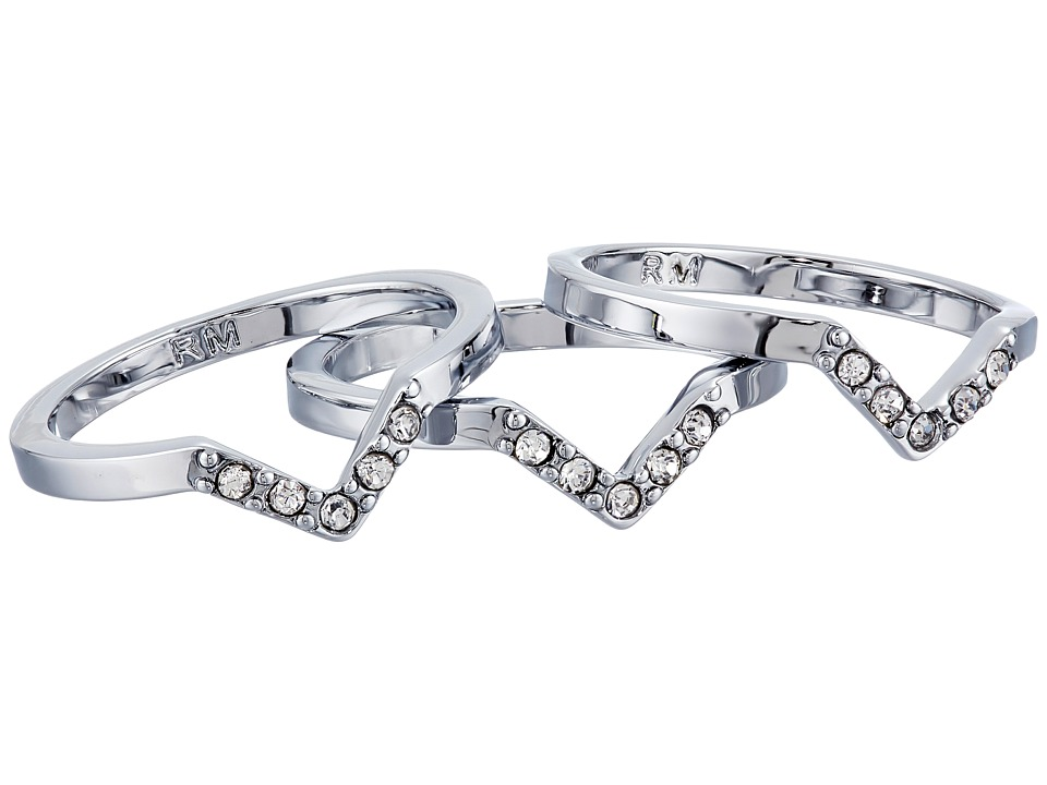 Rebecca Minkoff - Set of Three Rings (Imitation Rhodium/Crystal) Ring