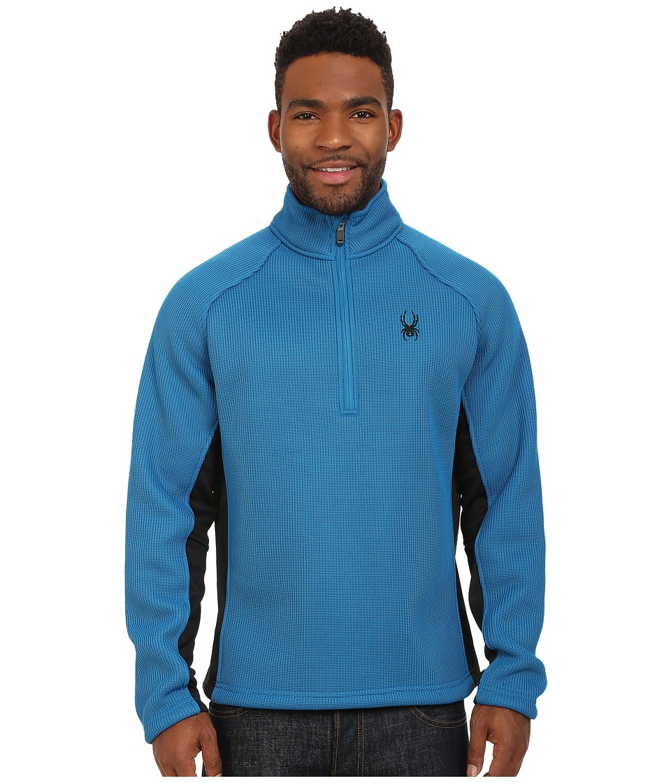 Spyder - Pitch Half Zip Heavy Weight Core Sweater (Concept Blue/Black) Men's Sweater