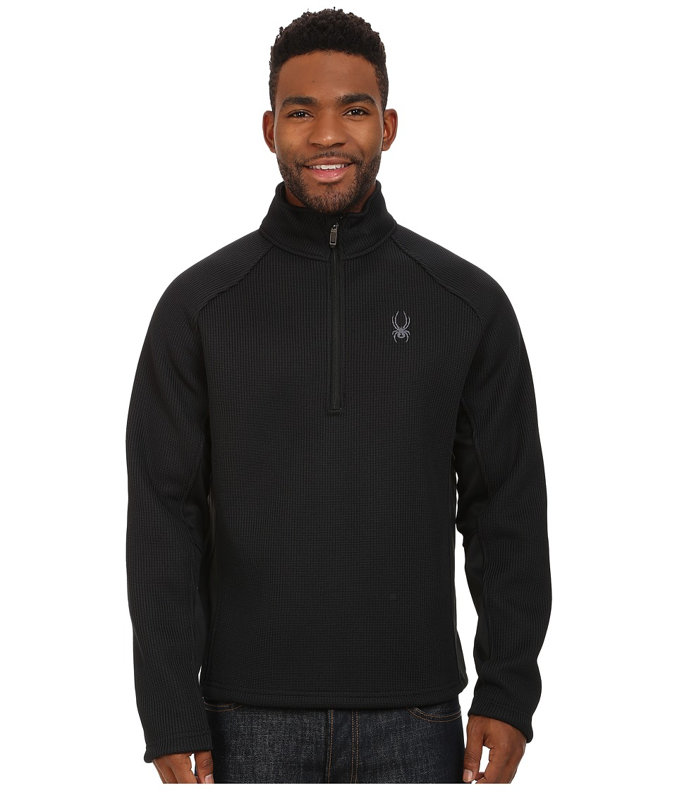 Spyder - Pitch Half Zip Heavy Weight Core Sweater (Black/Black) Men's Sweater