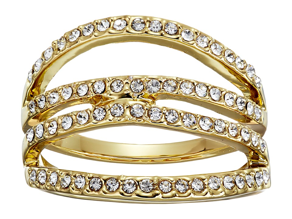 Rebecca Minkoff - Four Band Ring (Gold Toned/Crystal) Ring