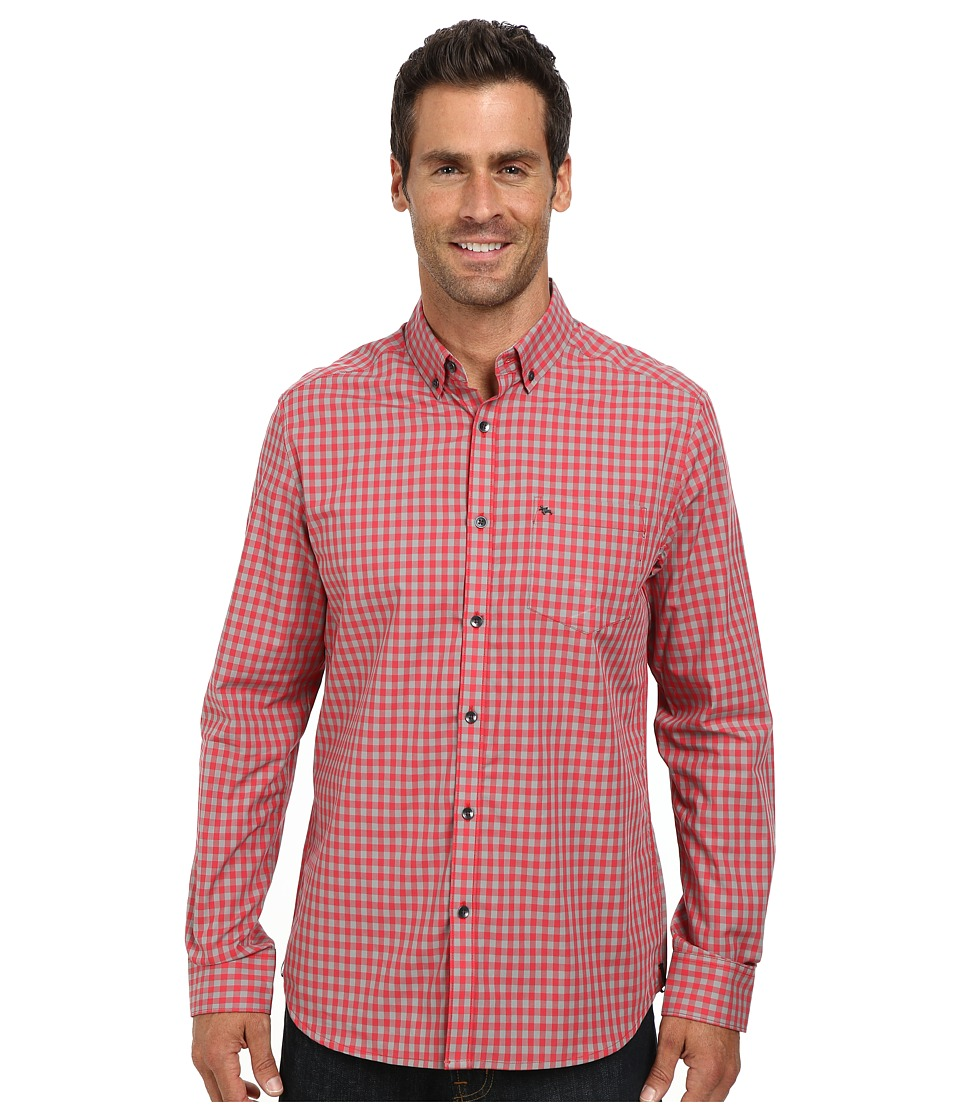 Kenneth Cole Sportswear - Long Sleeve Tonal Gingham Shirt (Coral Reef) Men's Clothing