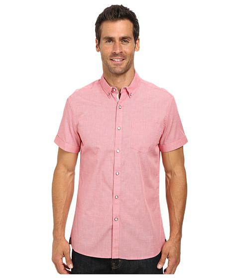 Kenneth Cole Sportswear - Short Sleeve Poplin Pinstripe Shirt (Coral Reef) Men