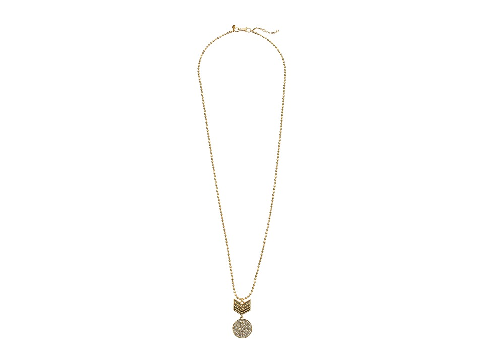 Rebecca Minkoff - Chevron Pendant Necklace (Gold Toned/Hematite) Necklace
