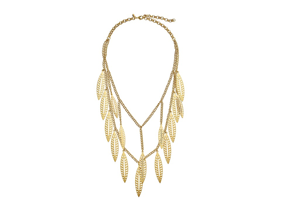 Rebecca Minkoff - Leaf Statement Necklace (Gold Toned/Crystal) Necklace