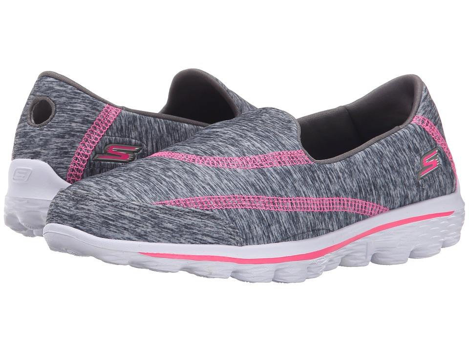 SKECHERS KIDS - GO Walk 2-Relay (Little Kid/Big Kid) (Grey/Hot Pink) Girl's Shoes