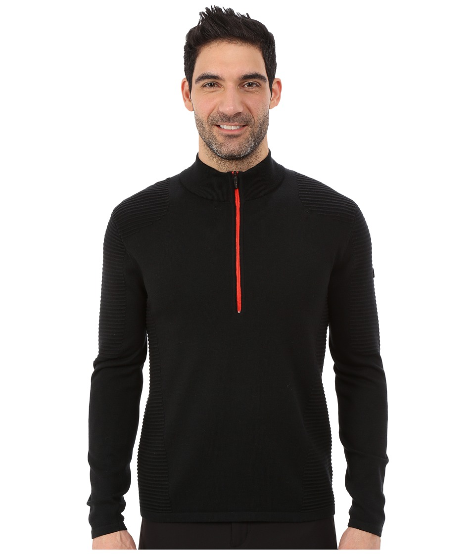 Spyder - Drayke Half Zip Sweater (Black/Volcano) Men