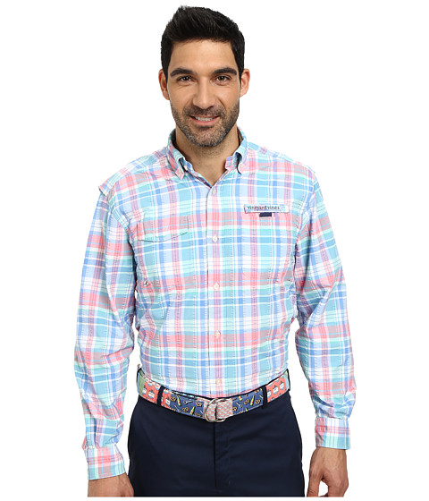 Vineyard Vines - Gidley Plaid Harbor Shirt (Aquinnah Aqua) Men
