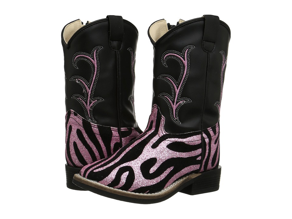 Old West Kids Boots - Leatherette Western Boots (Toddler) (Leatherette Zebra Glint Print) Cowboy Boots