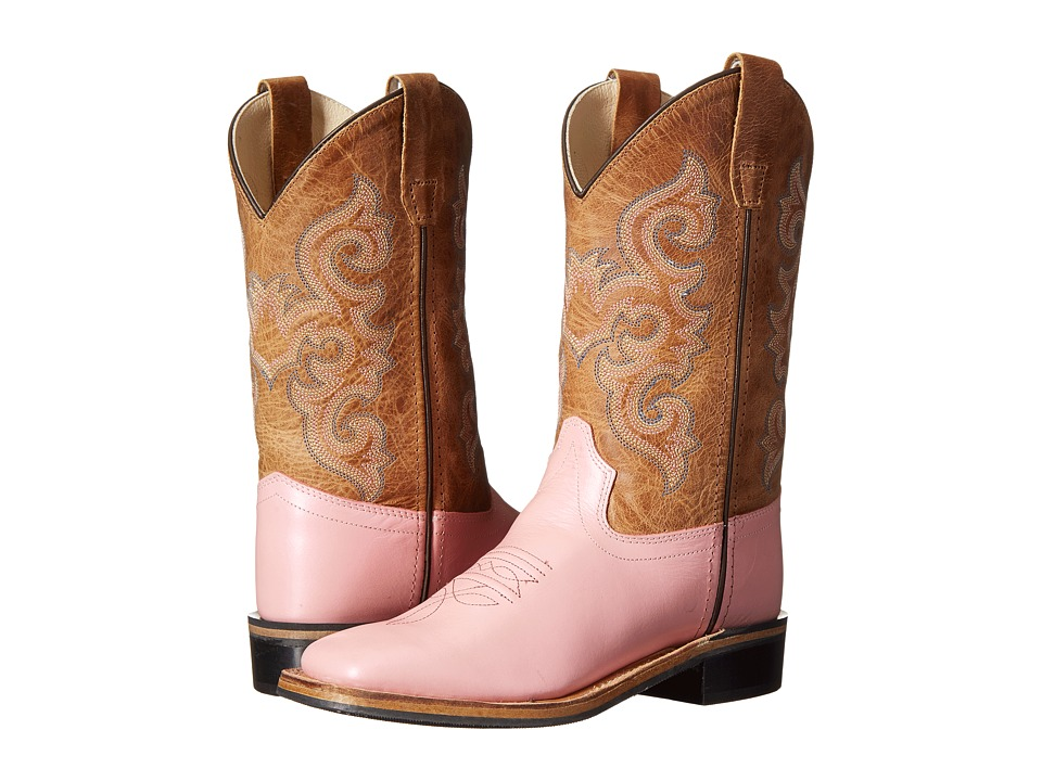 Old West Kids Boots - Western Boots (Toddler/Little Kid) (Metallic Pink/Tan Fry) Cowboy Boots