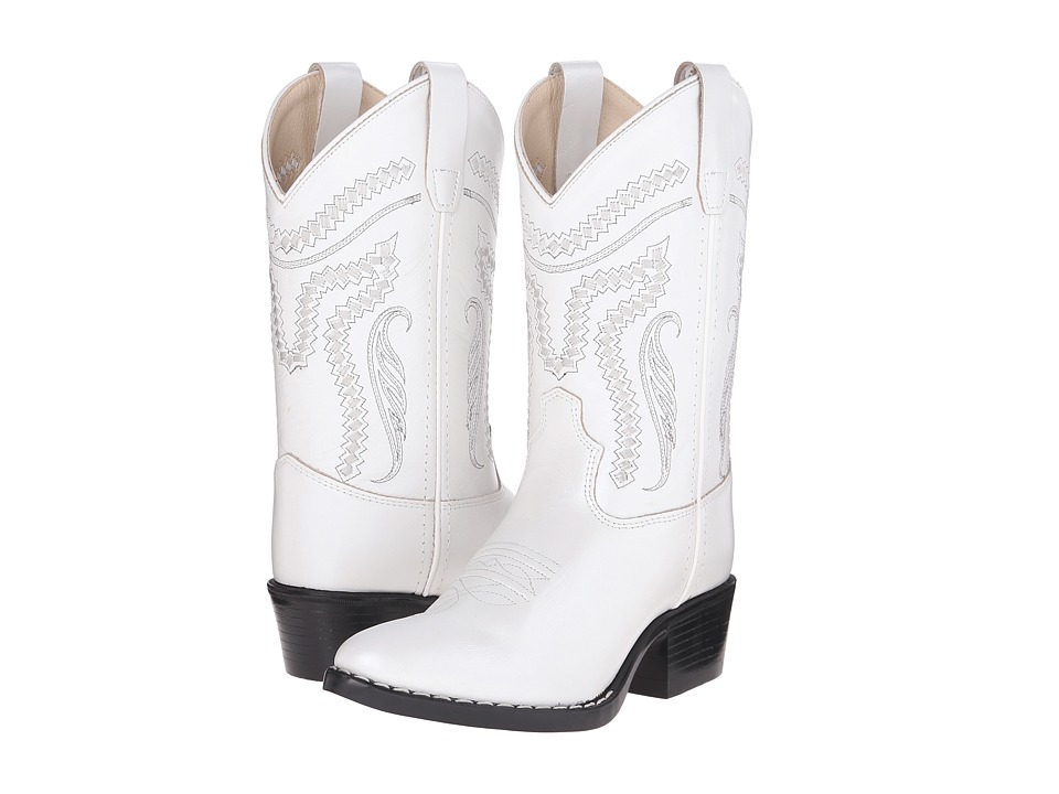 Old West Kids Boots - Western Boots (Toddler/Little Kid) (Silver/White) Cowboy Boots
