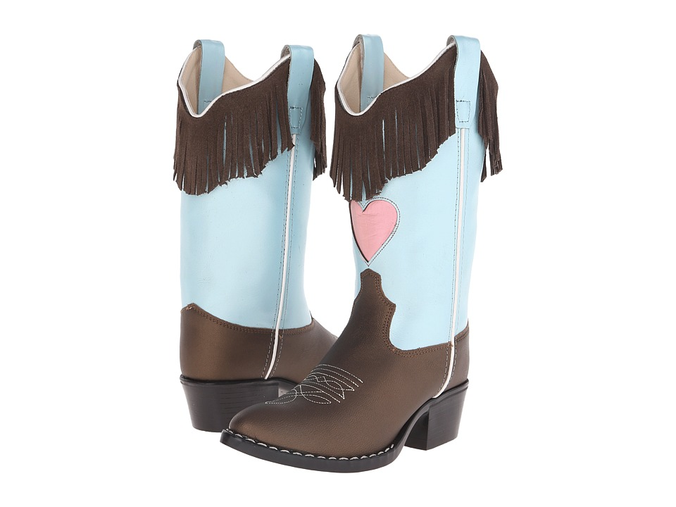 Old West Kids Boots - Western Boots (Toddler/Little Kid) (Brown Varona/Silver Light Blue) Cowboy Boots