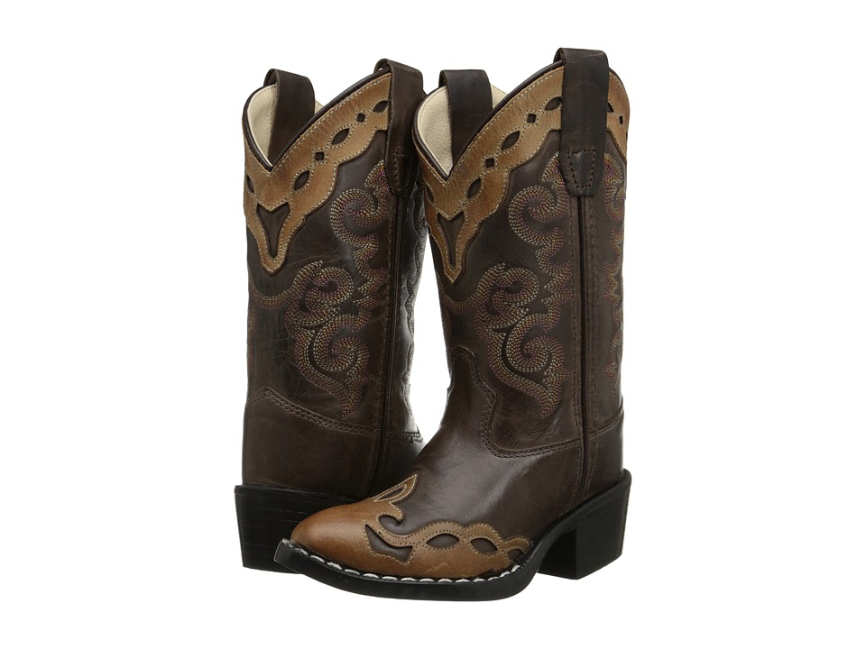Old West Kids Boots - Western Boots (Toddler/Little Kid) (Brown Canyon/Tan Canyon Overlay) Cowboy Boots