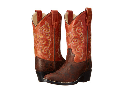 Old West Kids Boots - Western Boots (Toddler/Little Kid) (Brown Truffle/Antique Waxy Red) Cowboy Boots