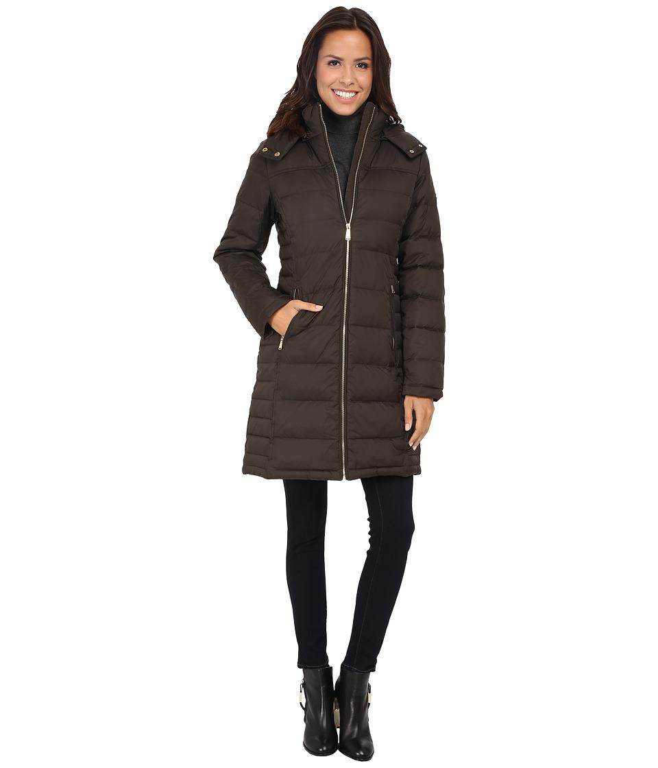 MICHAEL Michael Kors - 3/4 Down w/ Detach Hood (Dark Olive) Women's Clothing