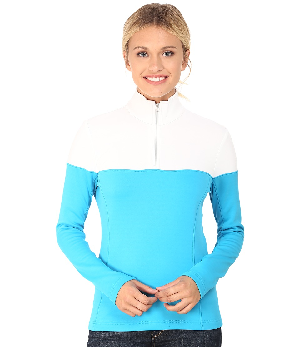 Spyder - Etna Therma Stretch T-Neck (Riviera/White) Women's Long Sleeve Pullover