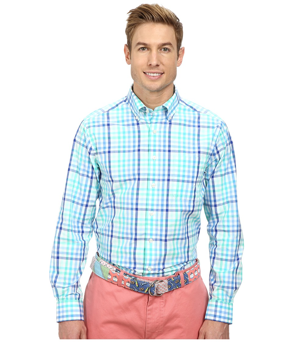 Vineyard Vines - Slim Murray Dunlin Plaid (Aquamarine) Men's Long Sleeve Button Up