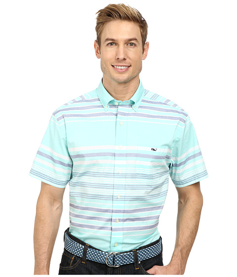 Vineyard Vines - Short Sleeve Tucker Shirt-Tuthill Stripe (Capri Blue) Men's Short Sleeve Button Up