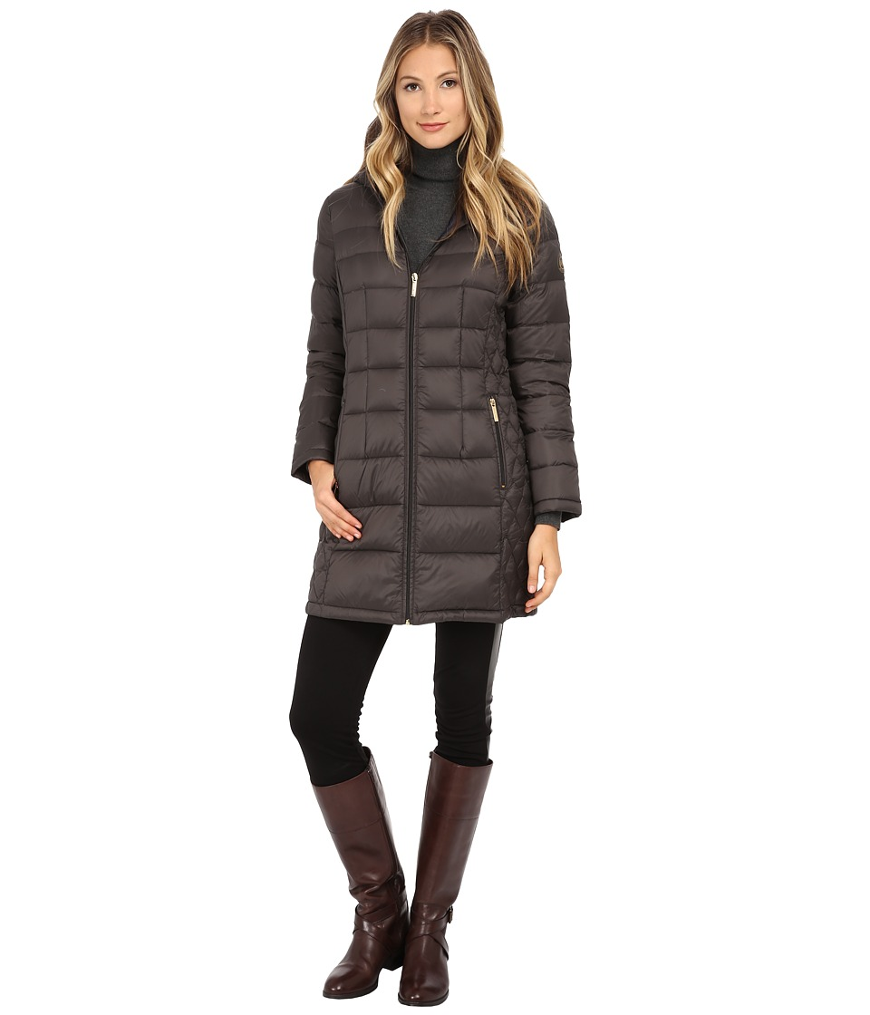 MICHAEL Michael Kors - 3/4 Packable w/ Attached Hood (Smoke) Women's Coat