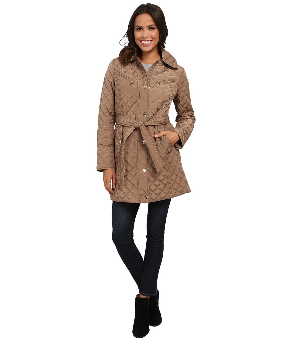 MICHAEL Michael Kors - Quilt Single-Breasted Belted Trench (Truffle) Women's Coat
