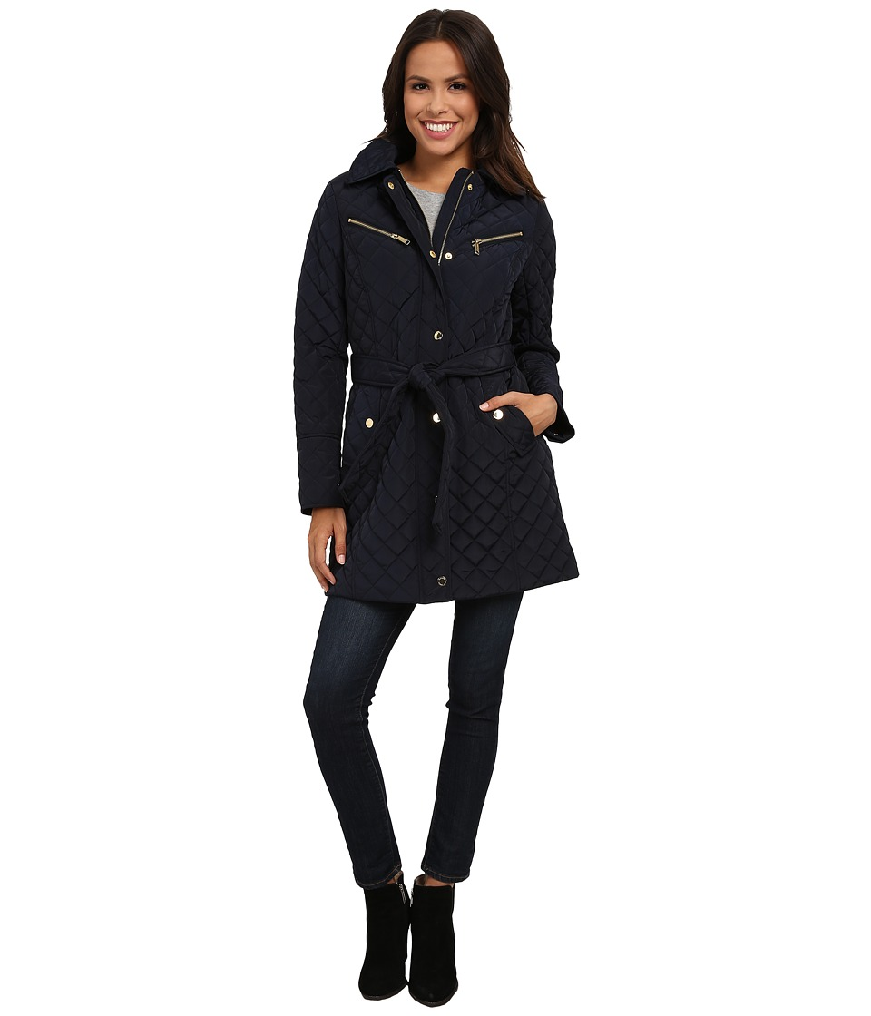 MICHAEL Michael Kors - Quilt Single-Breasted Belted Trench (New Navy) Women's Coat