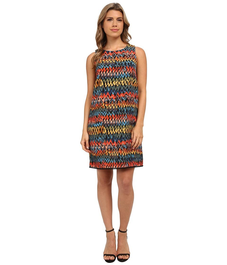 kensie Painted Zigzag Dress KS0K7756 (Black Combo) Women