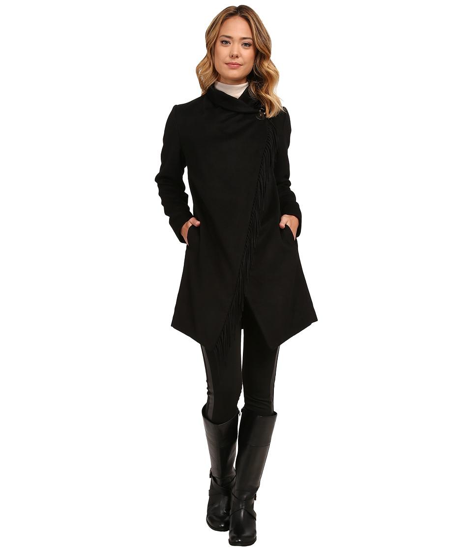 LAUREN Ralph Lauren - Fringe Edge Cowl Neck (Black) Women's Coat