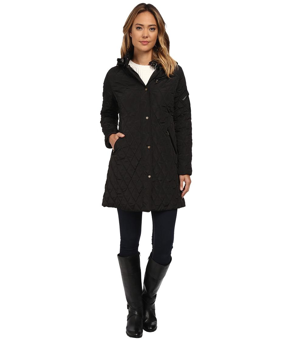 LAUREN Ralph Lauren - 3/4 Diamond Quilt w/ Removable Hood (Black) Women's Coat