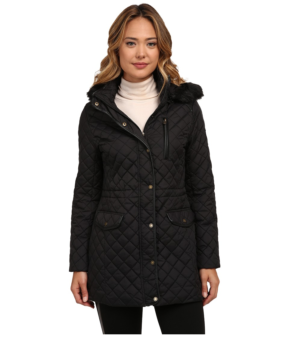 LAUREN Ralph Lauren - Anorak w/ Faux Fur Trim (Black) Women's Coat