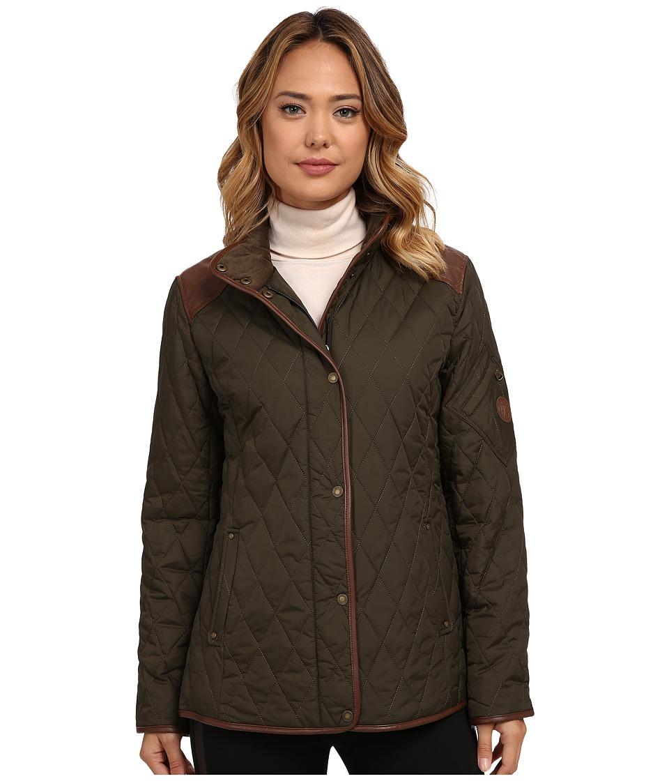 LAUREN Ralph Lauren - Faux Leather Trim Short (Litchfield Loden) Women's Coat