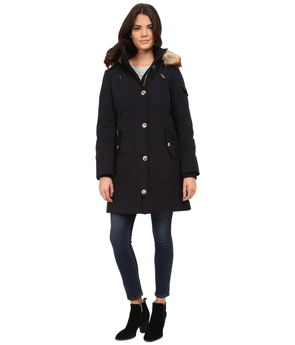 MICHAEL Michael Kors - Down Parka w/ Faux Fur Trim (Navy) Women's Coat