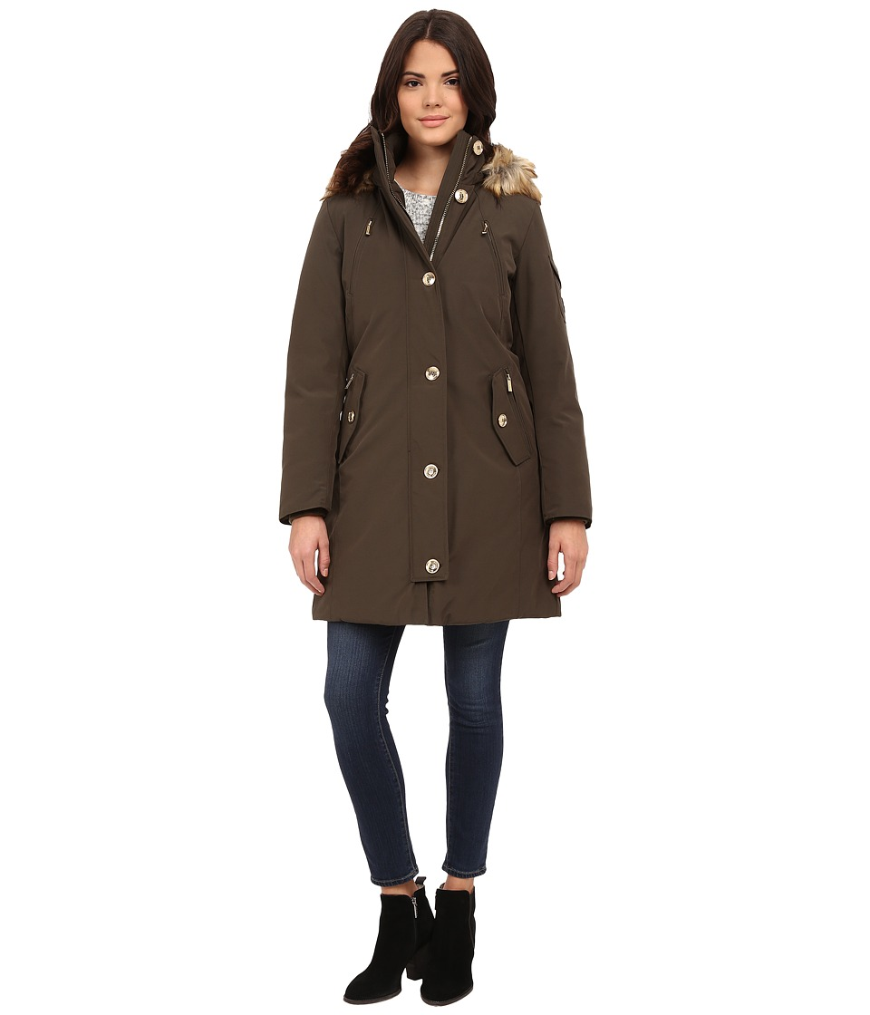 MICHAEL Michael Kors - Down Parka w/ Faux Fur Trim (Olive) Women's Coat