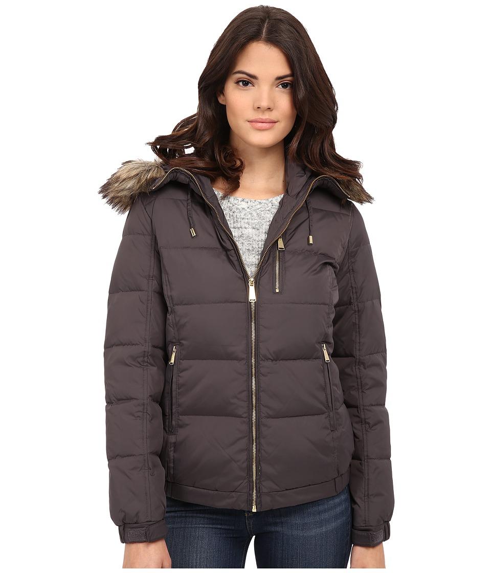 MICHAEL Michael Kors - Short Hooded w/ Faux Fur (Gunmetal) Women's Clothing