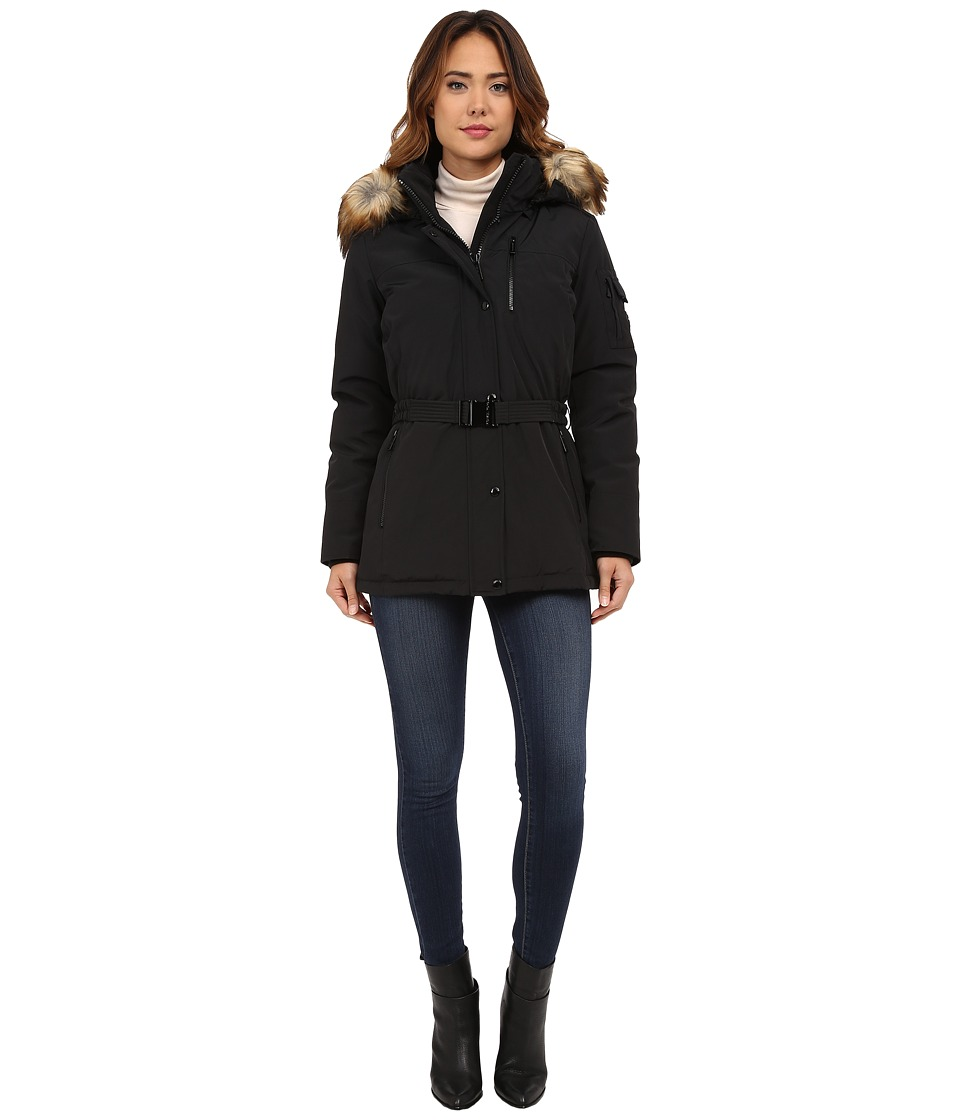 MICHAEL Michael Kors - Belted Heavy Down w/ Faux Fur Hood (Black) Women's Clothing