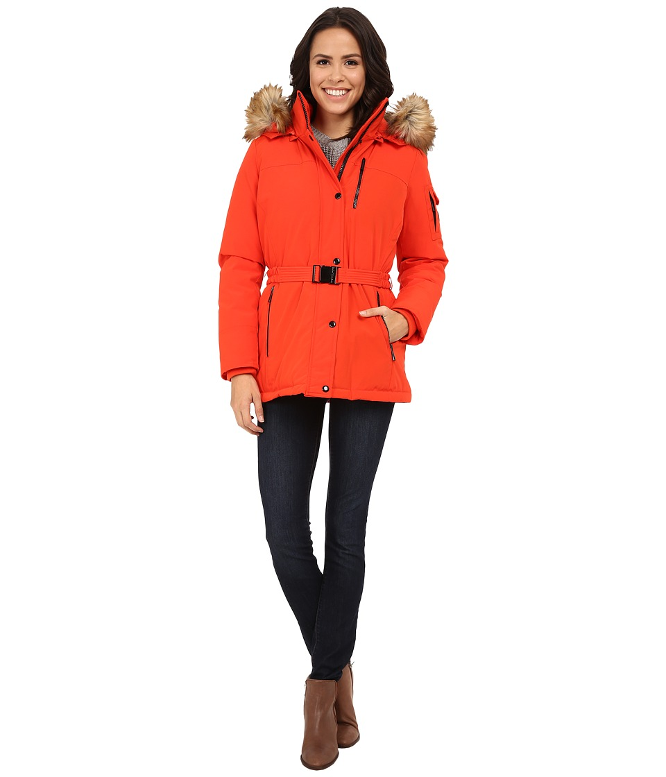 MICHAEL Michael Kors - Belted Heavy Down w/ Faux Fur Hood (Orange) Women's Clothing