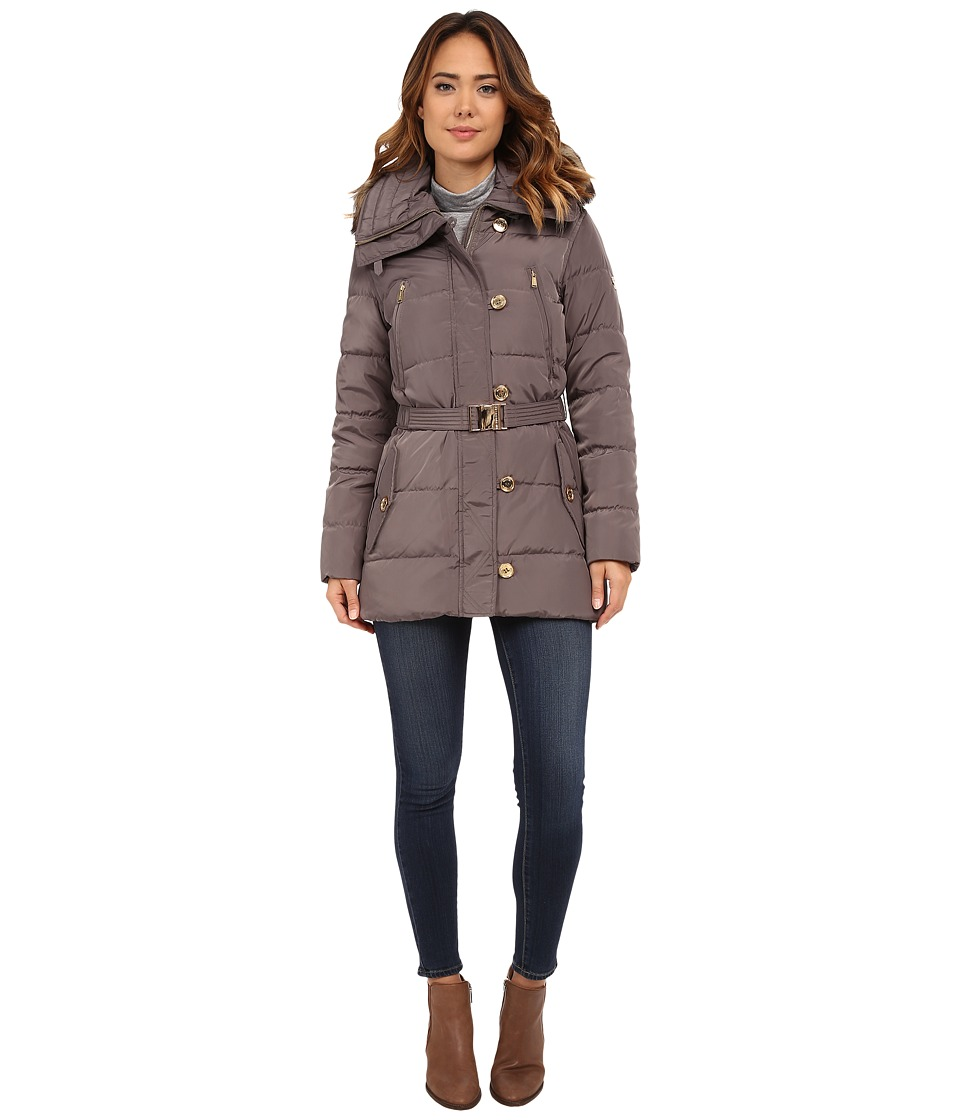 MICHAEL Michael Kors - Button Front Belted 3/4 Down w/ Faux Fur (Flannel) Women's Clothing