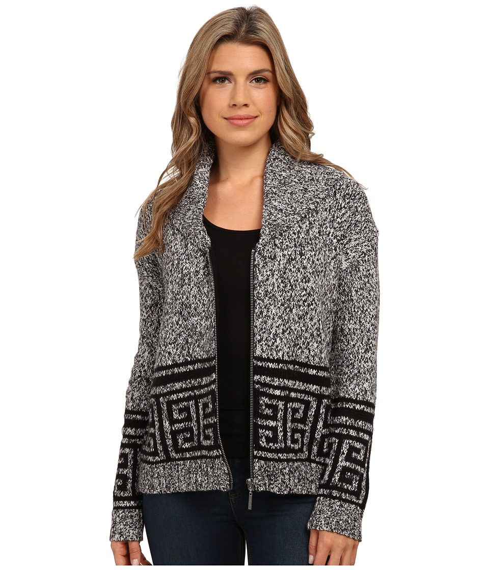 kensie - Fuzzy Mixed Media Cardigan KS0K5064 (Black Combo) Women's Sweater