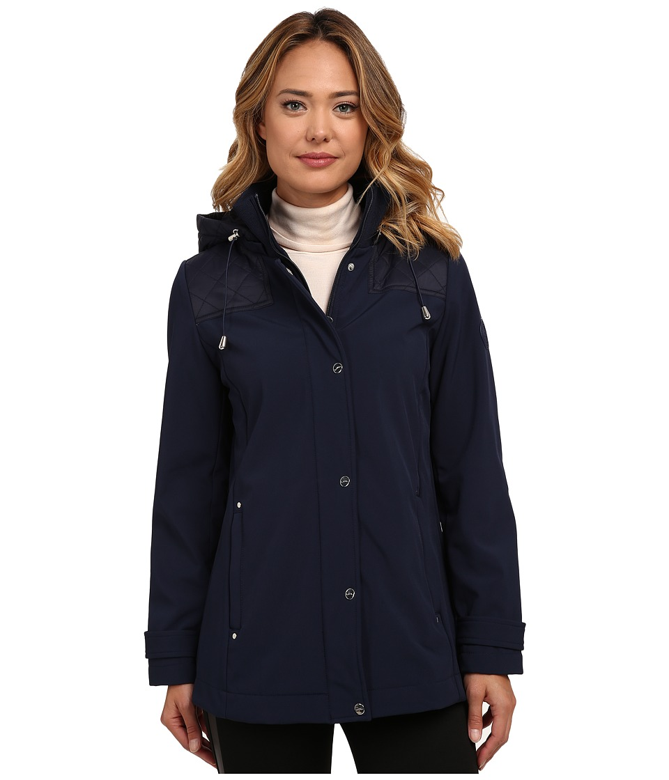 LAUREN Ralph Lauren - Quilted Shoulder w/ Knit Collar (Regal Navy) Women's Coat