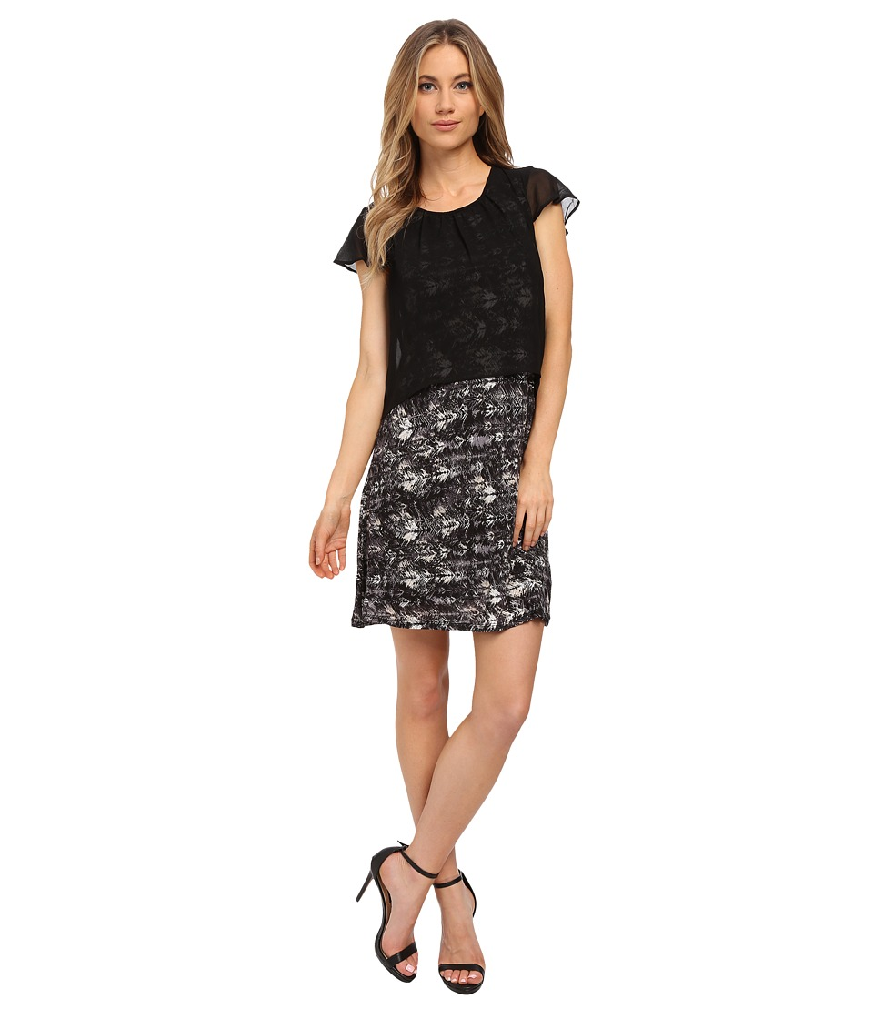 kensie - Feather Brushstrokes Dress KS0K7736 (Black Combo) Women's Dress