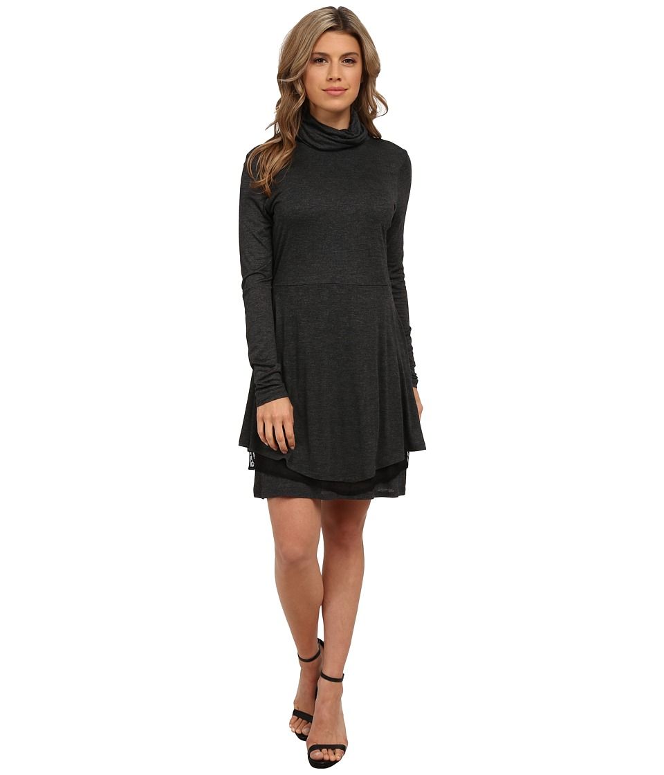 kensie Sheer Viscose Tee Dress KS0K7734 (Heathe Charcoal Combo) Women