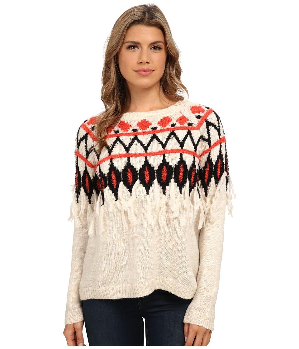 kensie - Tissue Knit Fringe Sweater KS9K5051 (Dune Combo) Women's Sweater