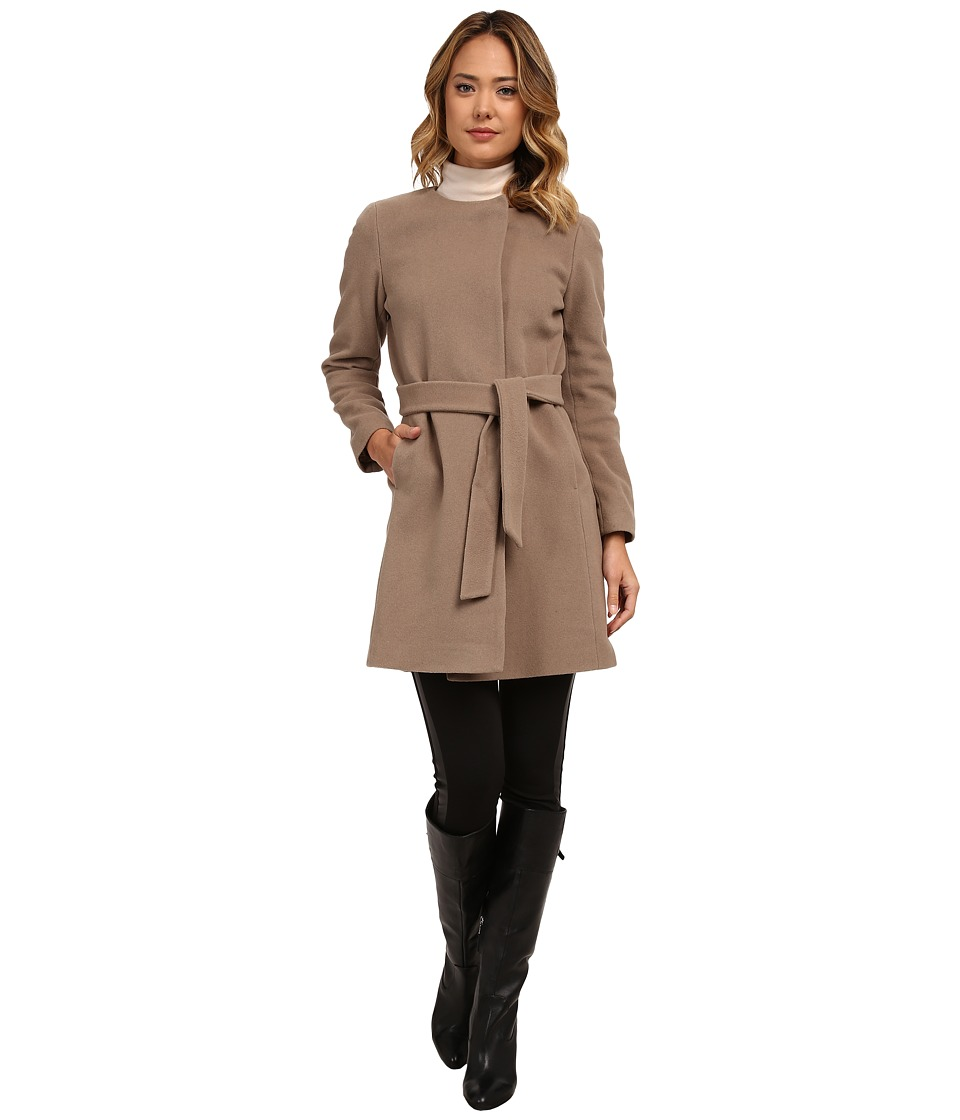LAUREN Ralph Lauren - Cashmere Blend Belted Collarless (Truffle) Women's Coat