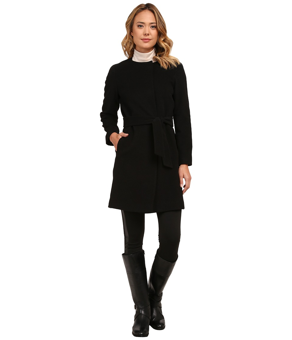 LAUREN Ralph Lauren - Cashmere Blend Belted Collarless (Black) Women's Coat