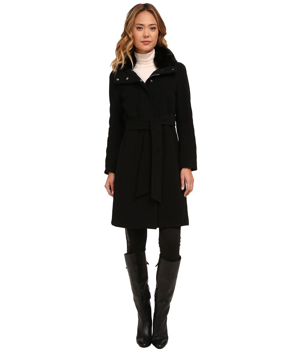 LAUREN Ralph Lauren - Cashmere Blend Belted Faux Fur Collar (Black) Women's Coat