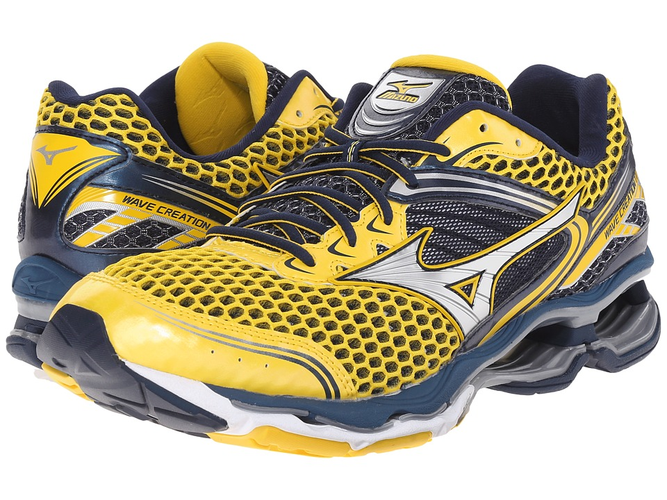 Mizuno - Wave Creation 17 (Cyber Yellow/Silver/Dress Blue) Men's Running Shoes