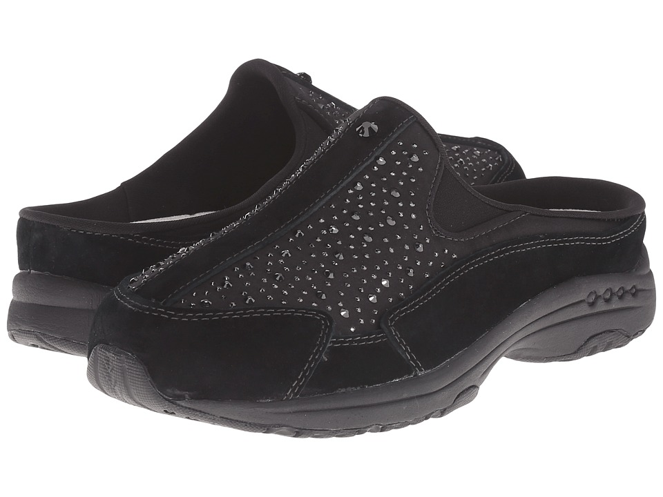 Easy Spirit - Traveltime (Black/Medgold Suede) Women's Clog Shoes